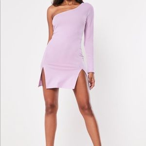 Lilac One Sleeve Split Hem Bodycon Mini Dress